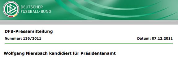 Screenshot DFB-Pressemitteilung 7.12.2011