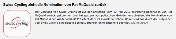 Screenshot http://swisscycling.ch vom 21.8.13